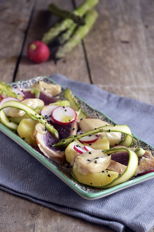 Insalata di patate e tonno con maionese