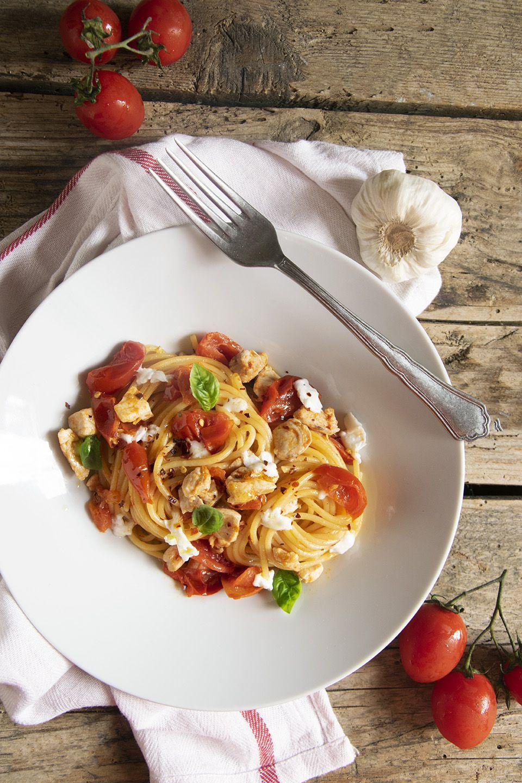 Spaghetti con ricciola e pomodorini